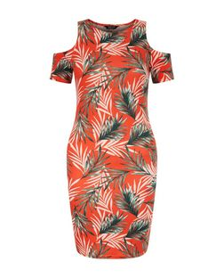 Teens Red Tropical Print Cold Shoulder Dress | New Look