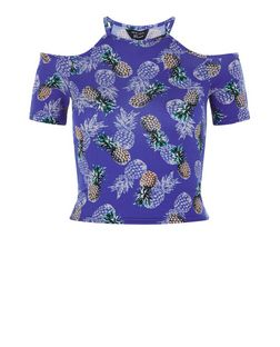 Teens Blue Pineapple Print Cold Shoulder Top | New Look