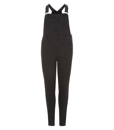Curves Black Skinny Dungarees | New Look