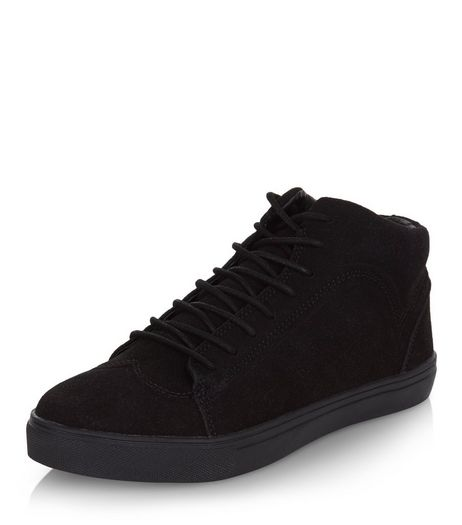 Black Suedette Hi-Top Trainers | New Look