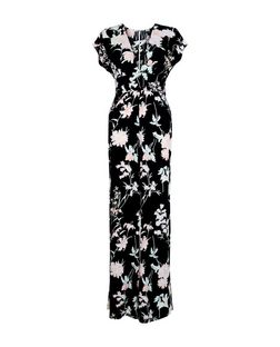 Black Floral Print Deep V Neck Wide Leg Jumpsuit  | New Look