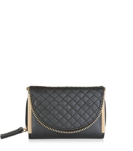 Black Quilted Zip Edge Purse  | New Look