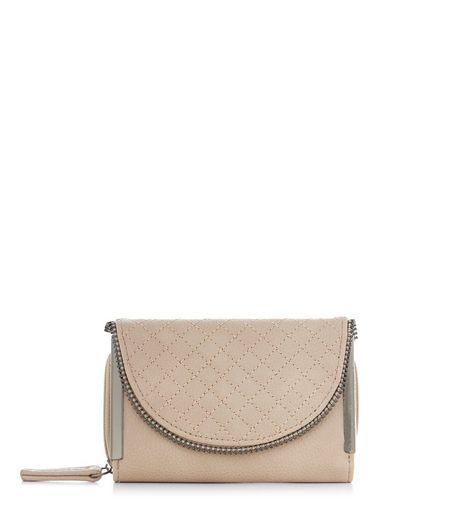 Mink Quilted Zip Edge Purse  | New Look