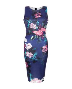 AX Paris Navy Floral Print Layered Midi Dress  | New Look