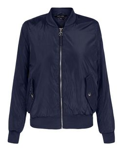 Navy Padded Double Pocket Bomber Jacket | New Look