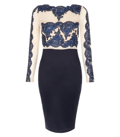 AX Paris Navy Lace Bodycon Dress | New Look