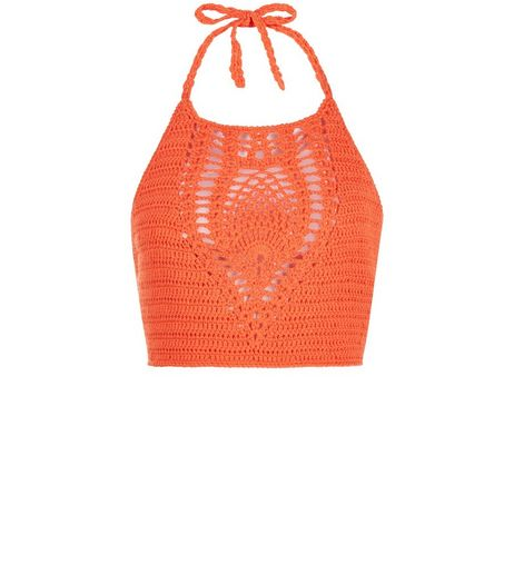 Petite Bright Orange Crochet Halter Neck Crop Top  | New Look