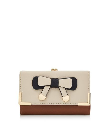 Brown Contrast Bow Purse | New Look