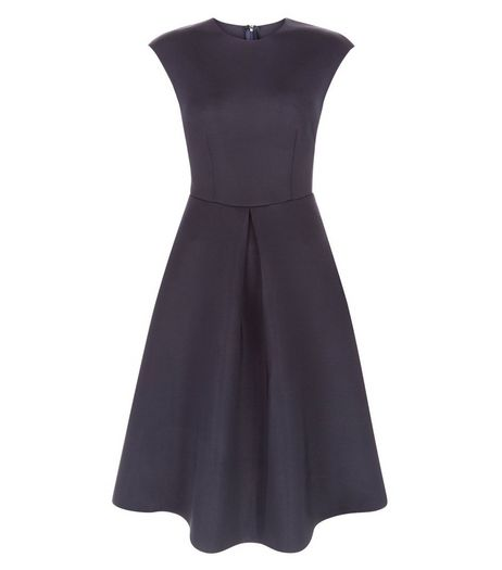 AX Paris Navy Pleated Skater Dress | New Look