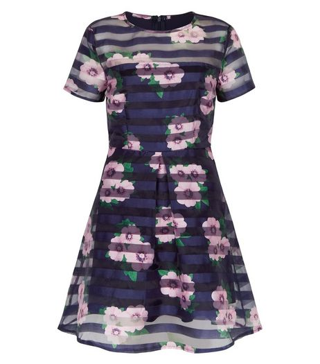 AX Paris Navy Floral Stripe Print Skater Dress | New Look