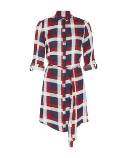 AX Paris Blue and Red Check Shirt Dress | New Look