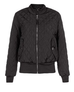 Black Quilted Padded Bomber Jacket  | New Look