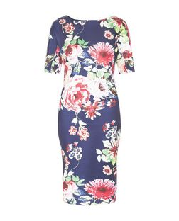 AX Paris Navy Floral Print Midi Dress | New Look