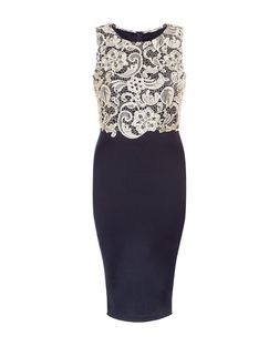 AX Paris Navy Contrast Crochet Midi Dress | New Look