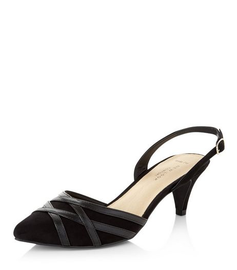 Wide Fit Black Comfort Suedette Sling Back Pointed Heels  | New Look