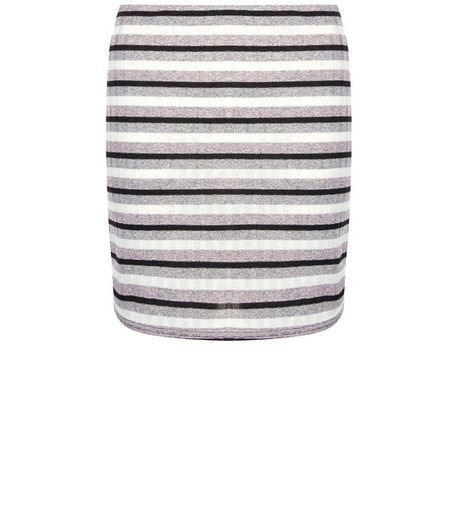 White Ribbed Stripe Tube Skirt  | New Look