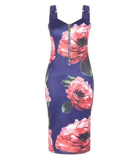 AX Paris Navy Floral Print Zip Front Dress | New Look