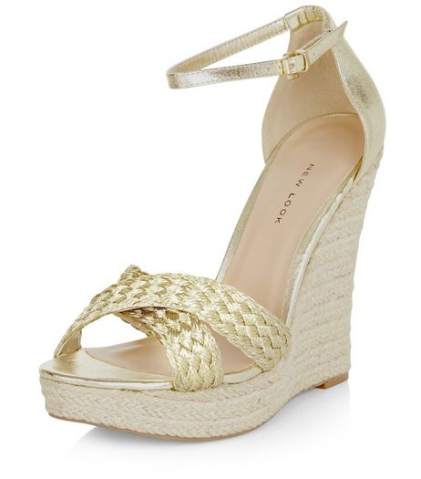 Wide Fit Gold Metallic Plaited Cross Strap Wedges  | New Look