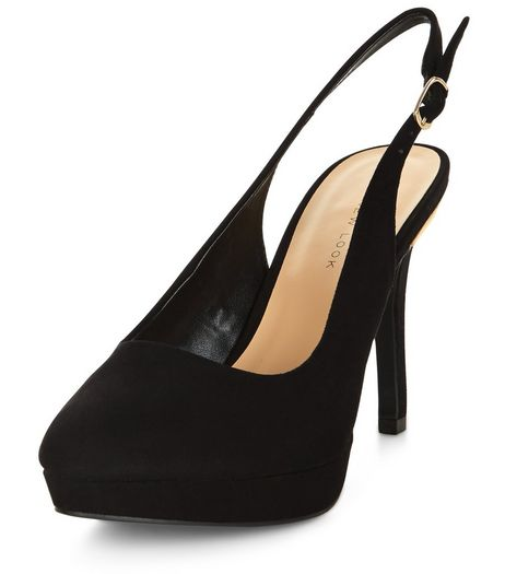Wide Fit Black Suedette Sling Back Heels  | New Look