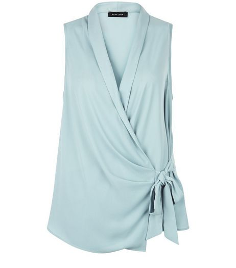 Light Green Wrap Tie Side Shell Top  | New Look