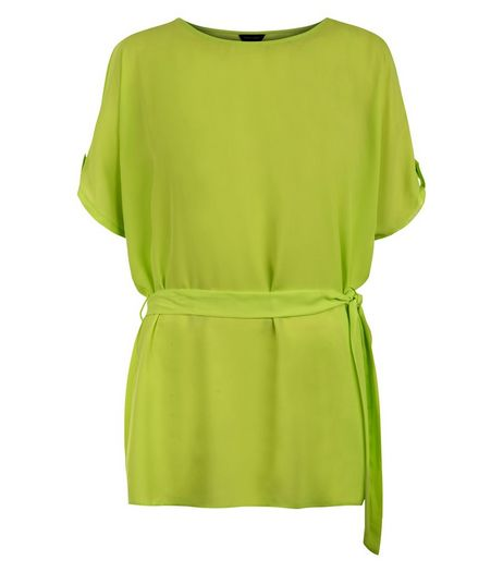 Lime Cold Shoulder Tie Waist Top | New Look