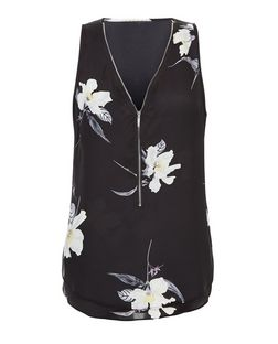 Apricot Black Floral Print Zip Front Top | New Look