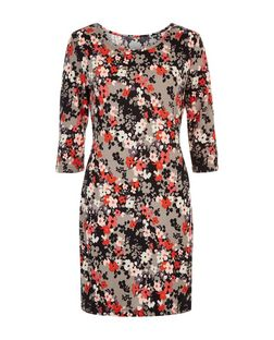 Apricot Coral Floral Print Mini Dress  | New Look