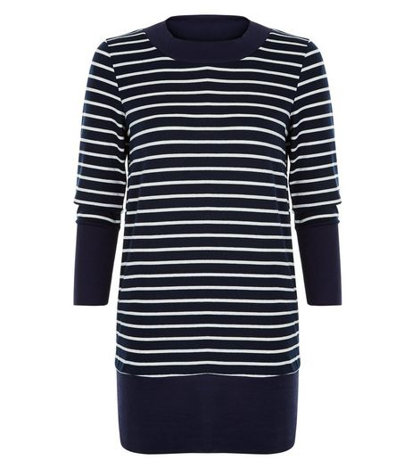 Apricot Navy Stripe Long Sleeve Top  | New Look