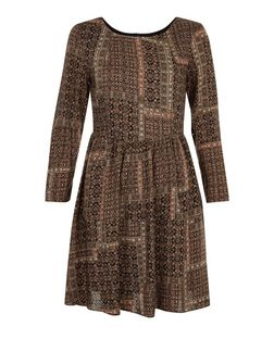 Apricot Black Patchwork Print Long Sleeve Dress  | New Look