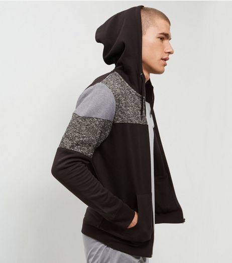 Black Colour Block Zip Up Hoodie  | New Look