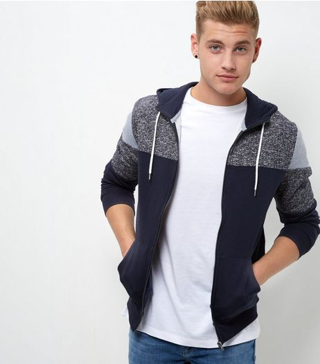 Navy Colour Block Zip Up Hoodie  | New Look