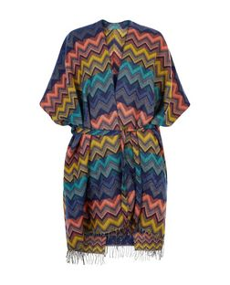 Apricot Multicoloured Zig Zag Print Fringed Blanket Wrap  | New Look