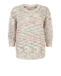 Apricot Cream Flecked Fisherman Knit Jumper  | New Look