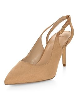 Wide Fit Stone Suedette Sling Back Pointed Heels  | New Look