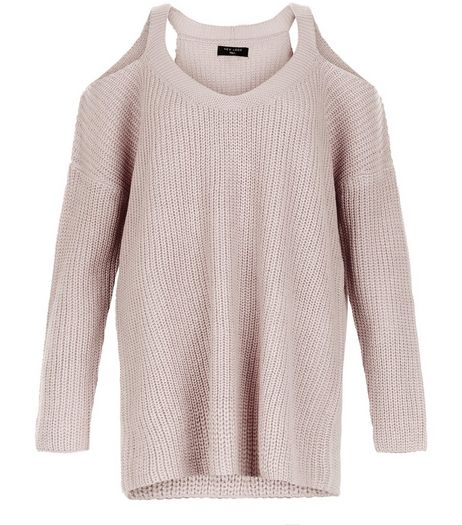 Mid Pink Ribbed Cold Shoulder Jumper  | New Look