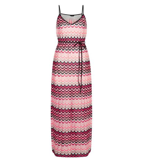 Pink Crochet Tie Waist Maxi Dress  | New Look