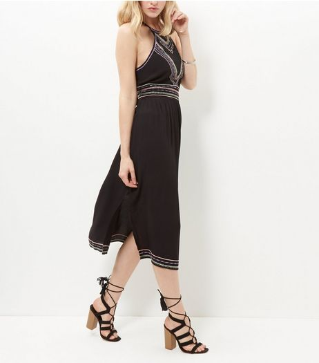 Black Embroidered Strappy Midi Dress  | New Look