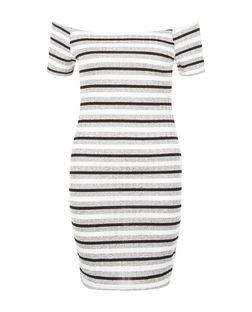 Grey Stripe Bardot Neck Bodycon Mini Dress  | New Look