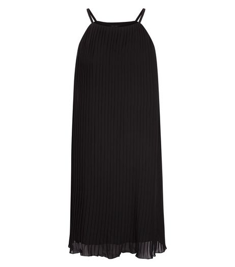 Black Pleated High Neck Slip Dress  | New Look