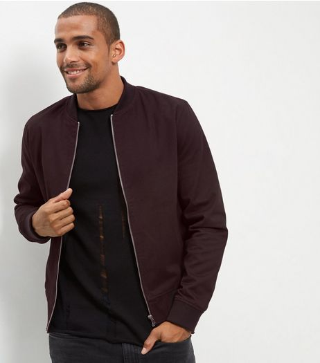 Burgundy Cotton Bomber Jacket  | New Look