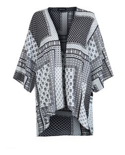 Cameo Rose Black Abstract Print Kimono | New Look