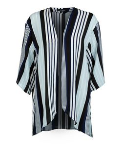 Cameo Rose Blue Stripe Kimono | New Look