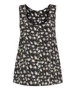Cameo Rose Black Floral Print Zip Back Vest  | New Look