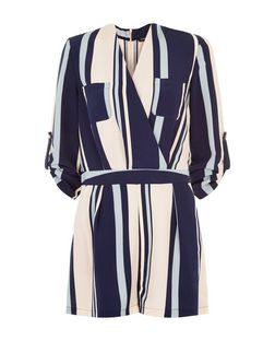 Cameo Rose Blue Stripe Wrap Front Playsuit  | New Look