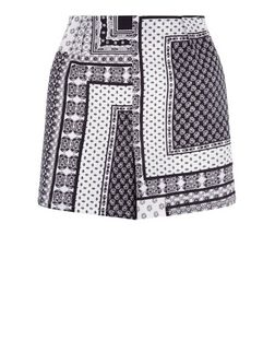Cameo Rose Black Abstract Patchwork Print Shorts  | New Look