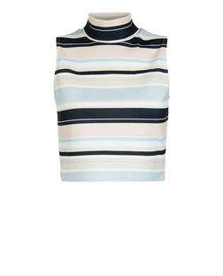 Cameo Rose Light Blue Stripe Funnel Neck Crop Top  | New Look