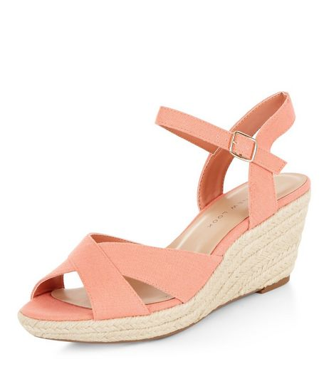 Teens Coral Canvas Cross Strap Wedges | New Look
