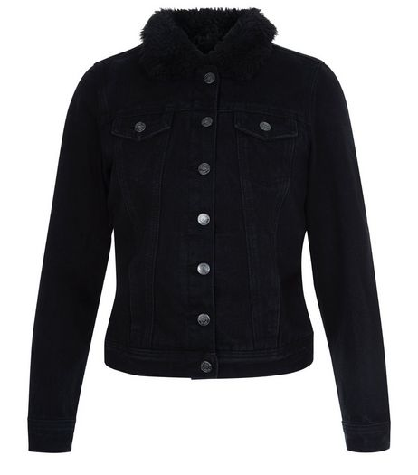 Teens Black Borg Lined Denim Jacket | New Look
