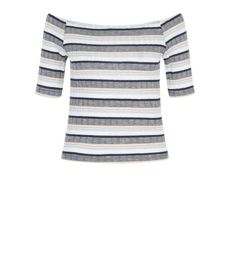 Blue Ribbed Stripe Bardot Neck Top  | New Look