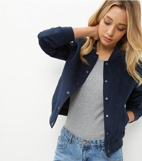 Navy Suedette Bomber Jacket  | New Look